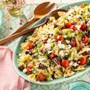 """<p>Inspired by a classic Greek salad, this pasta salad version is packed with tomatoes, cucumbers, olives, and feta. It's best to make it in advance to give the flavors time to combine, so keep that in mind with your planning!</p><p><strong><a href=""""https://www.thepioneerwoman.com/food-cooking/a35889038/greek-pasta-salad/"""" rel=""""nofollow noopener"""" target=""""_blank"""" data-ylk=""""slk:Get the recipe."""" class=""""link rapid-noclick-resp"""">Get the recipe. </a></strong></p><p><a class=""""link rapid-noclick-resp"""" href=""""https://go.redirectingat.com?id=74968X1596630&url=https%3A%2F%2Fwww.walmart.com%2Fsearch%2F%3Fquery%3Dstock%2Bpots&sref=https%3A%2F%2Fwww.thepioneerwoman.com%2Ffood-cooking%2Fmeals-menus%2Fg36500577%2Ftomato-recipes%2F"""" rel=""""nofollow noopener"""" target=""""_blank"""" data-ylk=""""slk:SHOP POTS"""">SHOP POTS</a></p>"""