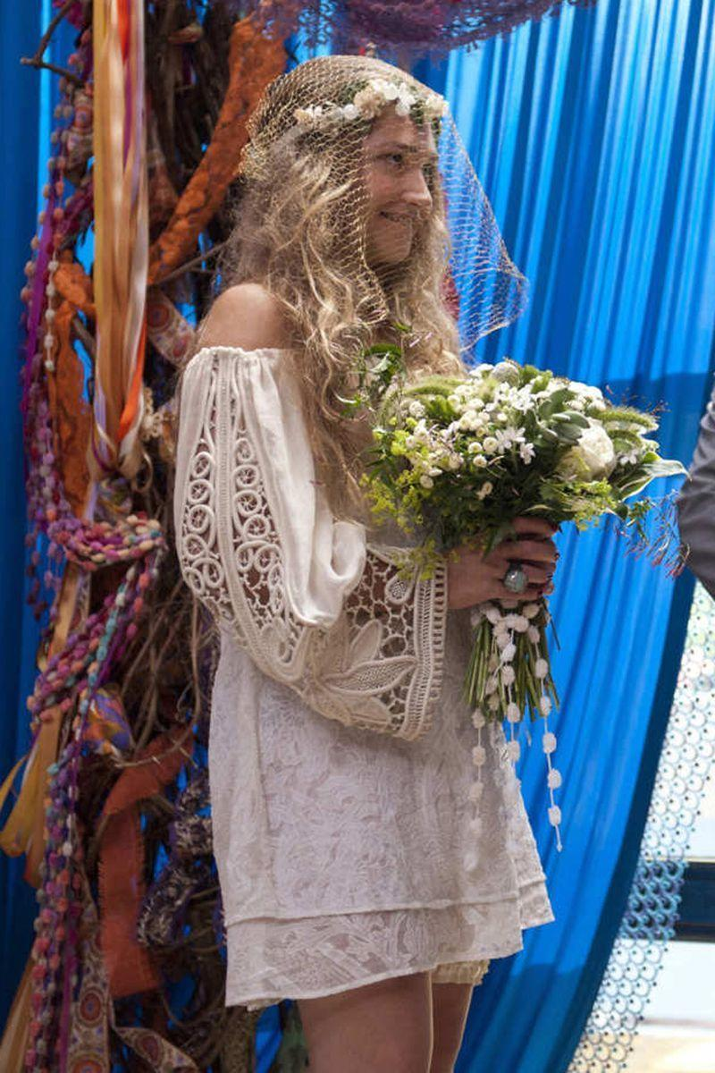 <p>Jessa from <em>Girls</em> (played by Jemima Kirke) was obviously never going to wear a traditional wedding dress, so instead, she went with this boho minidress for her surprise wedding in season 1. </p>