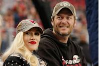 <p>Gwen and Blake step out for their first big public event since announcing they are a couple—an NFL game in Arizona as the Cardinals played the Green Bay Packers. The pair is all smiles and participate in a little PDA, including plenty of hand holding. </p>