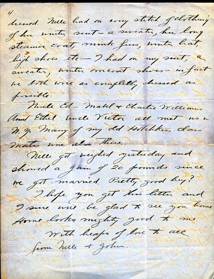 "<font face=""Arial"">This letter is a tremendous example of a first  hand account of the sinking of the Titanic and its aftermath. (Page 4 of 4)<br>  <br> A</font><font face=""Arial""> handwritten letter dated April 24, 1912, from John Snyder to his father, Frank. ""We were both asleep  when the boat hit...When we reached the top deck only a few people  were about and we all were told to go down & put on our life  belts...We were almost the very first people placed in the Lifeboat.  Only a very few people were on deck at the time and they thought it much  safer to stay on the big boat than to try the life boat"". <br>  <br> He goes on to  say how once in the lifeboats they could see from afar the boat  sinking. ""Finally the bow went under - that the finest boat in the world  was doomed - we hit between 11:40 & 11:50 and the Titanic sunk at  2:22 in the morning."" <br>  <br> </font>(Photo courtesy of <a target=""_blank"" href=""http://www.weissauctions.com/"">Phillip Weiss Auctions</a>)"