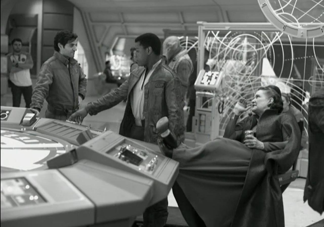 """<p>This shot of Carrie Fisher<span> kicking back withOscar Isaac<span> andJohn Boyega<span> is characteristic of her effortless humour.</span></span></span></p><p>""""Carrie is remarkable in the movie,"""" producer Kathleen Kennedy<span> has promised. """"</span>What [director Rian Johnson<span>]</span>wrote and the performance she ends up giving, it's an amazing tribute to her talent.""""</p>"""