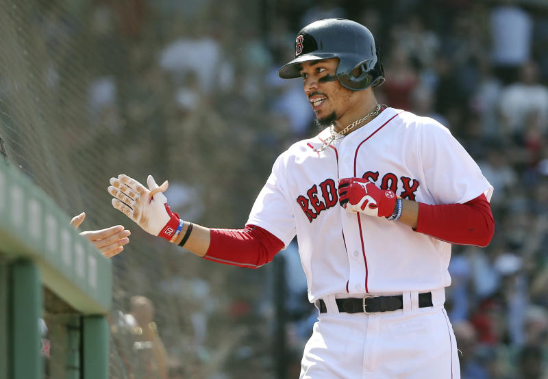Mookie Betts' strong play is a big reason the Red Sox are holding on to the top spot in the Yahoo Sports MLB Power Rankings. (AP)