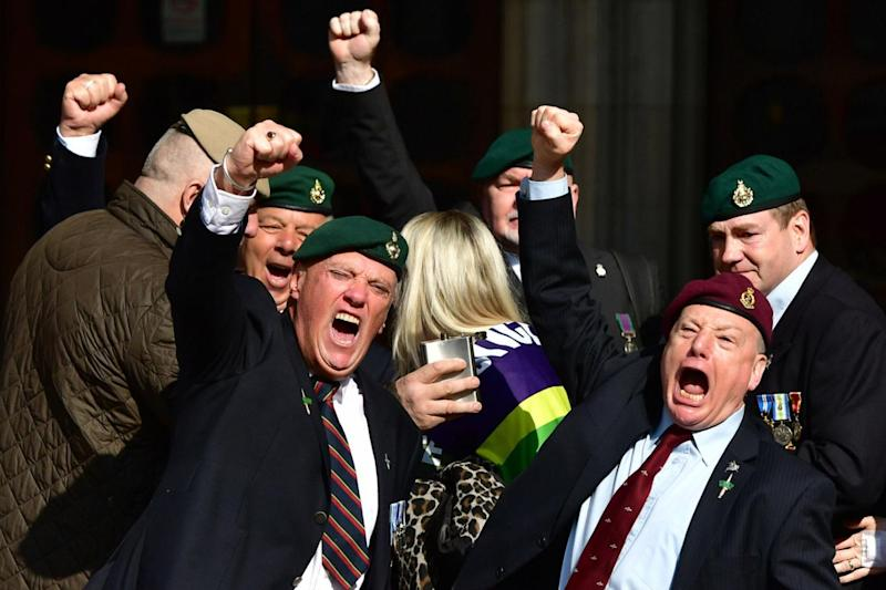 Freed: Supporters of Alexander Blackman celebrate outside the Royal Courts of Justice (Dominic Lipinski/PA)