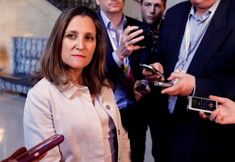 FILE PHOTO: Canada Foreign Minister Chrystia Freeland speaks to media in Quebec City