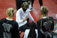 Stanford head coach Tara VanDerveer speaks with her players during the first half of an NCAA women's college basketball game against Washington, Sunday, Dec. 6, 2020, in Las Vegas. (AP Photo/John Locher)