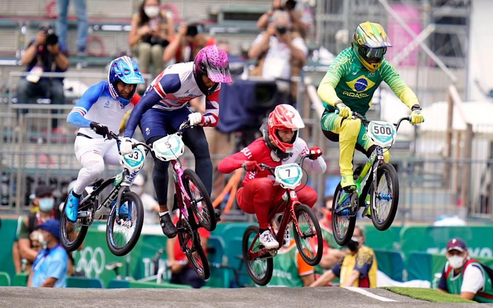 Great Britain's Kye Whyte competes in the Cycling BMX Racing semi finals at the Ariake Urban Sports Park - PA