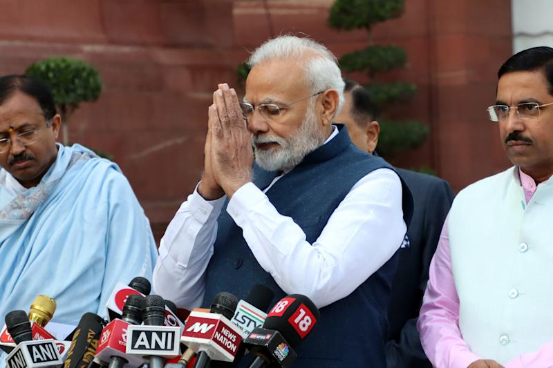 India Prime Minister Narendra Modi Addresses Media As Parliamentary Budget Session Begins