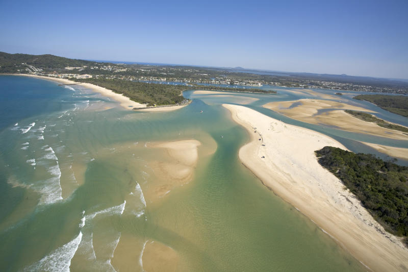 The Noosa River mouth on the Sunshine Coast Queensland Australia, is a popular beach spot and where a shark was recently spotted. Source: Getty