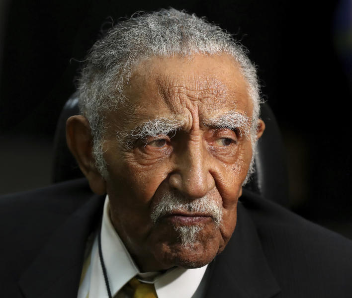 FILE - In this Oct. 4, 2017, file photo, the Rev. Joseph E. Lowery arrives for his 96th Birthday Tribute at Rialto Center for the Arts in Atlanta. Lowery, a veteran civil rights leader who helped the Rev. Martin Luther King Jr. found the Southern Christian Leadership Conference and fought against racial discrimination, died Friday, March 27, 2020, a family statement said. He was 98. (Curtis Compton/Atlanta Journal-Constitution via AP, File)