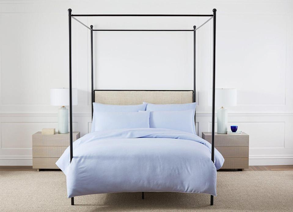 """<p>hillhousehome.com</p><p><strong>$325.00</strong></p><p><a href=""""https://www.hillhousehome.com/products/jolies-linen-bed-set?variant=16729186992171#Image6929368219691"""" rel=""""nofollow noopener"""" target=""""_blank"""" data-ylk=""""slk:Shop Now"""" class=""""link rapid-noclick-resp"""">Shop Now</a></p><p>""""I'm updating my bed linens with a cornflower blue set. It's cooling to the eye, and the actually sheets are heavenly.""""—<em>Roxanne Adamiyatt, Senior Lifestyle Editor</em></p>"""