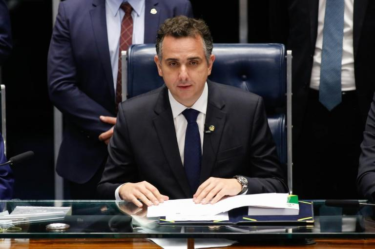 Senator Rodrigo Pacheco is seen after being elected president of the Senate, in Brasilia, on February 1, 2021