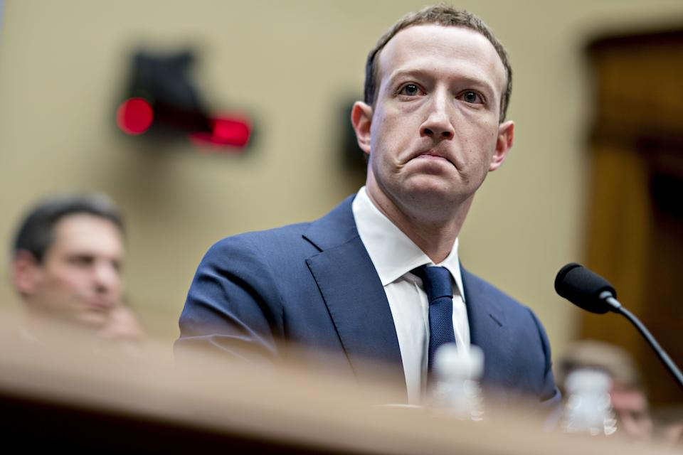 Mark Zuckerberg, chief executive officer and founder of Facebook Inc., listens during a House Energy and Commerce Committee hearing in Washington, D.C., U.S., on April 11, 2018. Photographer: Andrew Harrer/Getty Images