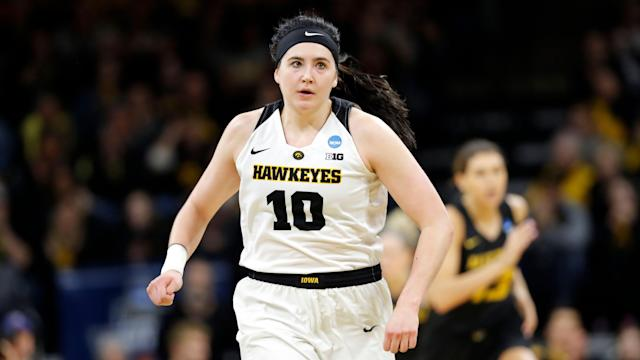 "<a class=""link rapid-noclick-resp"" href=""/wnba/players/6168/"" data-ylk=""slk:Megan Gustafson"">Megan Gustafson</a> was cut by the Dallas Wings. (AP Photo/Charlie Neibergall)"