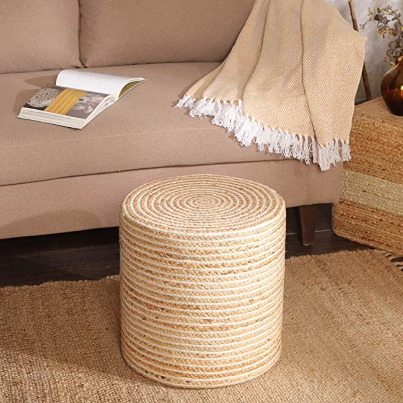 """<h3>Jute Pouf</h3><br>This substantial cylindrical jute poof is ready to serve everything from your favorite books to beverages and butts in beachy style. <br><br><strong>REDEARTH</strong> Cylindrical Pouf Foot Stool Ottoman, $, available at <a href=""""https://amzn.to/3k9S5zk"""" rel=""""nofollow noopener"""" target=""""_blank"""" data-ylk=""""slk:Amazon"""" class=""""link rapid-noclick-resp"""">Amazon</a>"""
