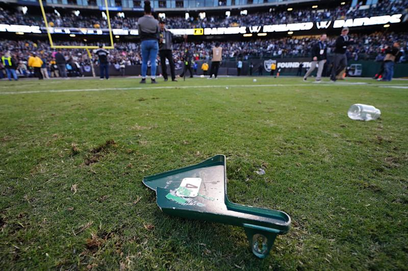 OAKLAND, CALIFORNIA - DECEMBER 15: A detailed view of a torn off piece of a stadium seat thrown on the field by fans after the Oakland Raiders loss to the Jacksonville Jaguars at RingCentral Coliseum on December 15, 2019 in Oakland, California. (Photo by Daniel Shirey/Getty Images)