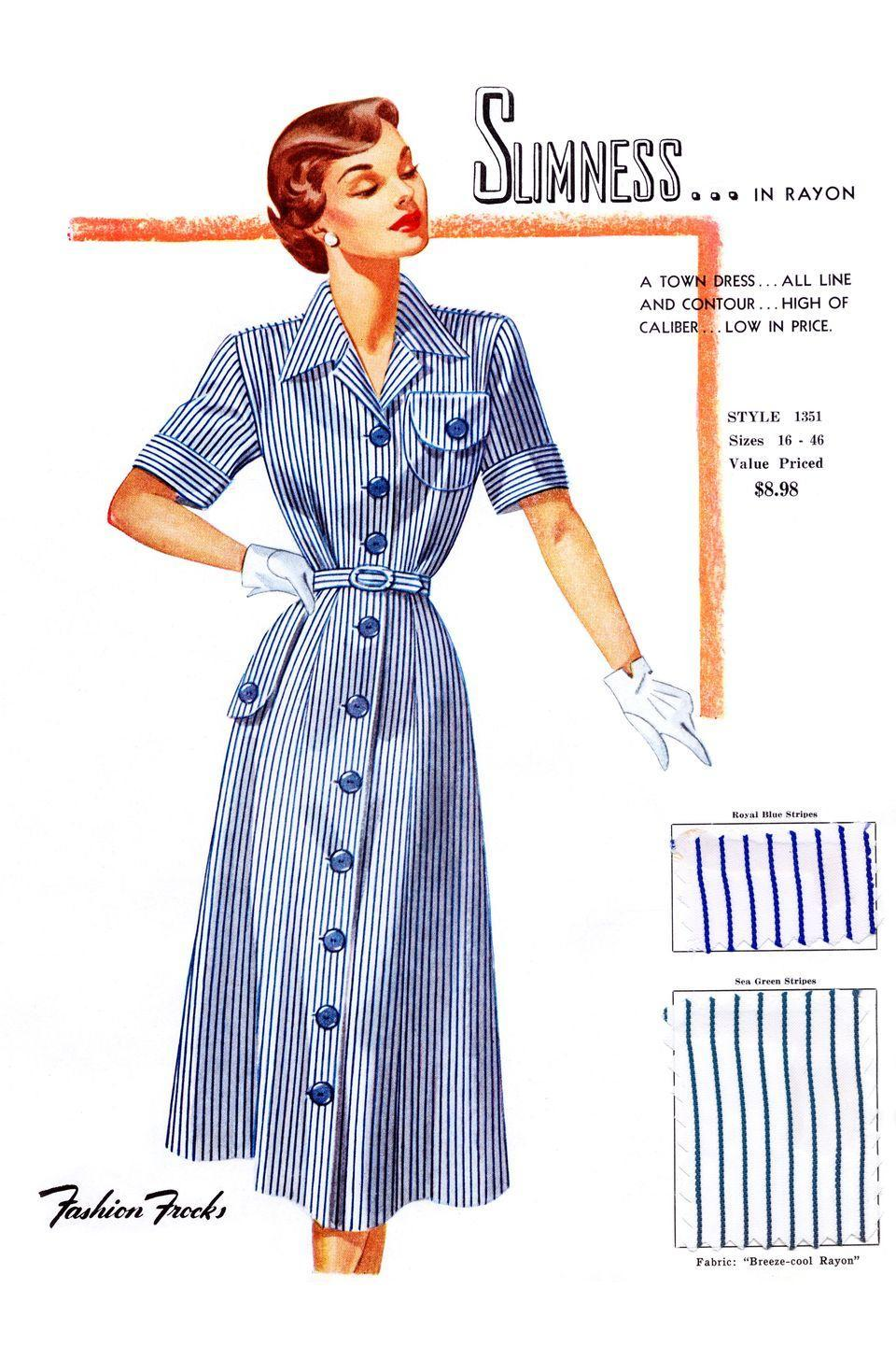 <p>Fashion plates of the latest styles complete with sample fabric from a book sent only to retailers to choose their seasonal collections. </p>