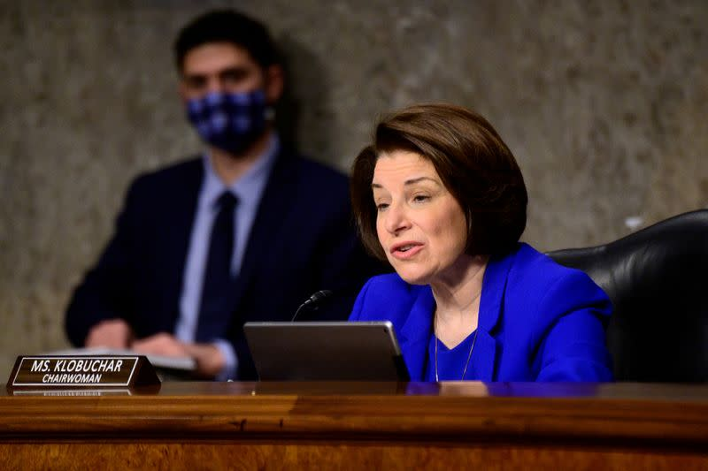 FILE PHOTO: U.S. Senator Amy Klobuchar speaks at a Senate committee hearing in Washington