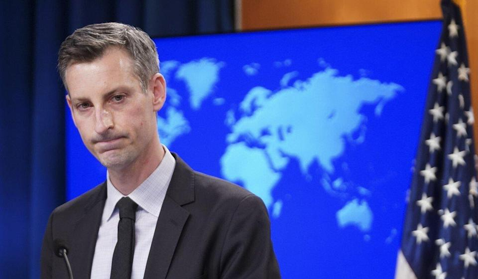 State Department spokesman Ned Price taking questions during the briefing after announcing the talks Secretary of State Blinken will be holding on Thursday. Photo: AP