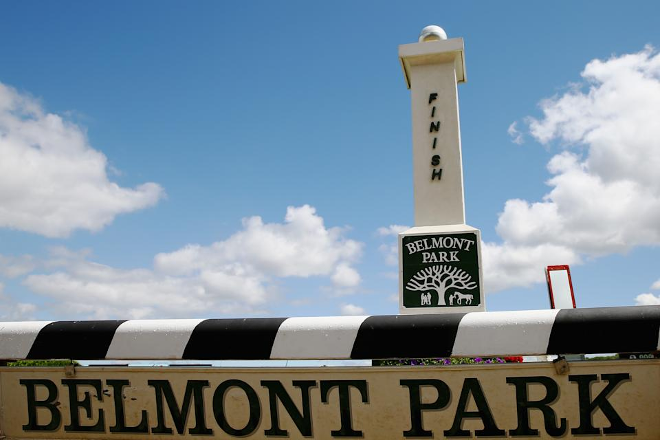 A sign is seen at Belmont Park on June 6, 2014 in Elmont, New York.  On Saturday, June 7, California Chrome will attempt to win the triple crown with a win in the Belmont Stakes.  (Photo by Streeter Lecka/Getty Images)