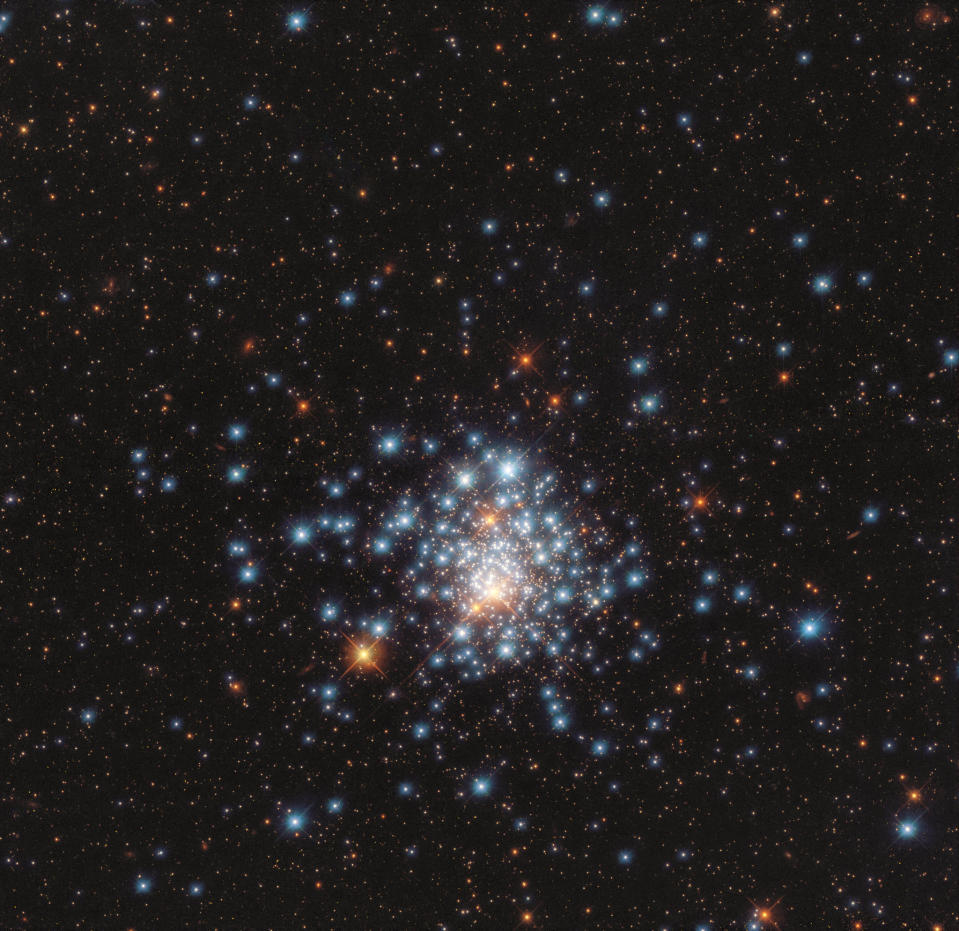 "These ""galactic fireworks"" are the colorful stars which make up the globular cluster NGC 1805, as seen in this photo taken by the Hubble Space Telescope. This cluster of thousands of stars is located out at the edge of the large Magellanic Cloud."