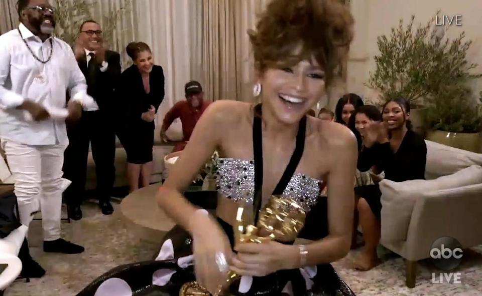 """<p>When the Emmys went virtual this year, it <a href=""""https://people.com/style/emmys-2020-dress-code-virtual-event/"""" rel=""""nofollow noopener"""" target=""""_blank"""" data-ylk=""""slk:advised nominees to &quot;come as you are, but make an effort,&quot;"""" class=""""link rapid-noclick-resp"""">advised nominees to """"come as you are, but make an effort,""""</a> which meant stars interpreted the dress code in many different ways. For some, like <a href=""""https://people.com/tv/emmys-2020-zendaya-still-on-cloud-nine/"""" rel=""""nofollow noopener"""" target=""""_blank"""" data-ylk=""""slk:Emmy winner Zendaya"""" class=""""link rapid-noclick-resp"""">Emmy winner Zendaya</a>, brought the glamour of a red carpet to her living room <a href=""""https://people.com/style/inside-zendaya-emmys-glam-session-exclusive/"""" rel=""""nofollow noopener"""" target=""""_blank"""" data-ylk=""""slk:in a custom Giorgio Armani Privé polka dot skirt and crystal-embroidered bandeau"""" class=""""link rapid-noclick-resp"""">in a custom Giorgio Armani Privé polka dot skirt and crystal-embroidered bandeau</a>.</p>"""