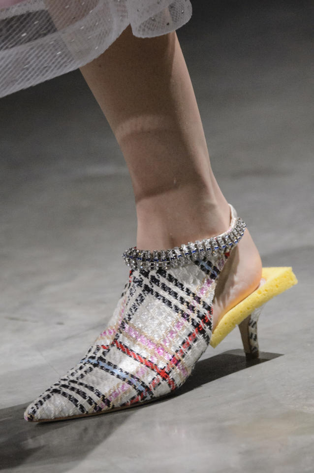 <p><i>Tweed and sponge-adorned cutout heels from the SS18 Christopher Kane collection. (Photo: ImaxTree) </i></p>