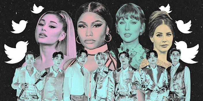 Ariana Grande, Nicki Minaj, Taylor Swift, Lana Del Rey, and BTS on a black background with white Twitter birds forming an arch over their heads.