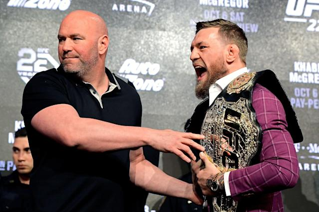 "UFC president Dana White, left, told Yahoo Sports it ""totally makes sense"" for Conor McGregor to retire right now. (Getty)"