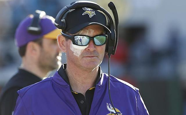 Dec 11, 2016; Jacksonville, FL, USA; Minnesota Vikings head coach Mike Zimmer on the sidelines during the second half of an NFL football game against the Jacksonville Jaguars at EverBank Field. The Vikings won 25-16. Mandatory Credit: Reinhold Matay-USA TODAY Sports