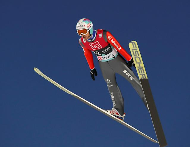 Ski Jumping World Cup - Men's HS134 Qualification - Holmenkollen, Oslo, Norway - March 9, 2018. Killian Peier of Switzerland is seen during official training. NTB Scanpix/Terje Bendiksby via REUTERS ATTENTION EDITORS - THIS IMAGE WAS PROVIDED BY A THIRD PARTY. NORWAY OUT. NO COMMERCIAL OR EDITORIAL SALES IN NORWAY.