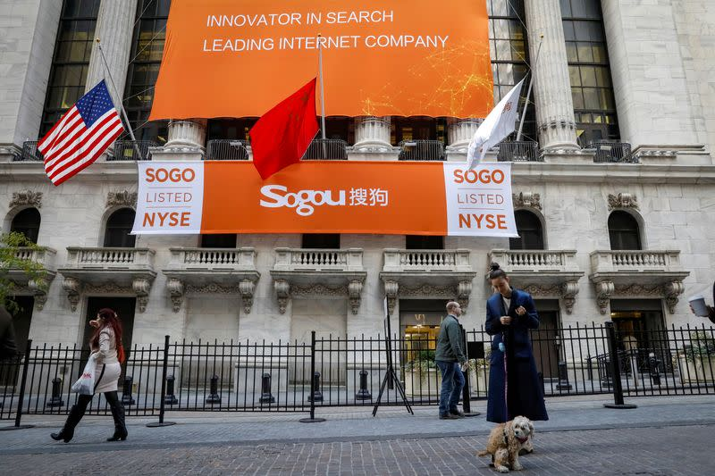 A banner hangs for China-based Sogou Inc to celebrate their IPO at the NYSE in New York