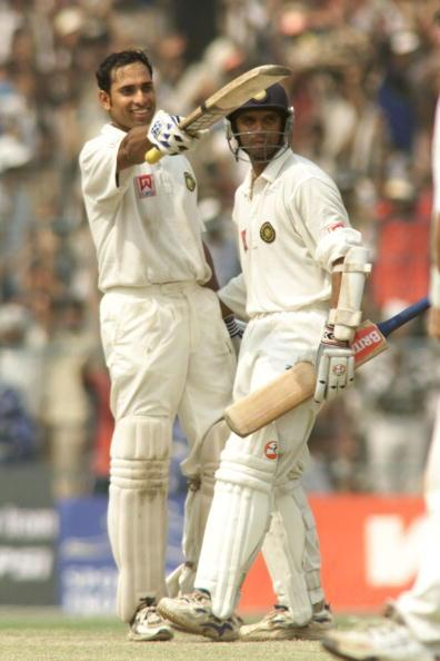 14 Mar 2001:  VVS Laxman (left) of India is congratulated by team mate Rahul Dravid after reaching 200, during day four of the 2nd Test between India and Australia played at Eden Gardens, Calcutta, India. X DIGITAL IMAGE  Mandatory Credit: Hamish Blair/ALLSPORT