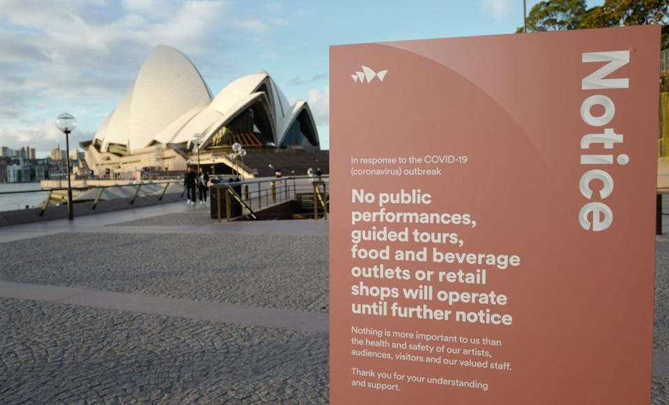 The Sydney Opera House remains closed due to the coronavirus. (Source: Getty)