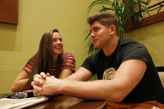 Texas Longhorns' J.P. Urquidez jokes with girlfriend Alexis Lelon Friday Sept. 6, 2019 at the team hotel in Austin, Tx. ( Photo by Edward A. Ornelas )