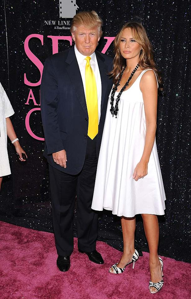 "Donald Trump and his wife Melania strutted their stuff on the pink carpet. Donald wore his trademark suit and tie, whereas Melania wowed in a white frock and ferocious heels. Dimitrios Kambouris/<a href=""http://www.wireimage.com"" target=""new"">WireImage.com</a> - May 27, 2008"