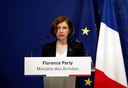 French Defence Minister Florence Parly takes part in a news conference after two French soldiers were killed in a rescue operation of four hostages in Burkina Faso, at the headquarters of the French Armed Forces in Paris, France, May 10, 2019. REUTERS/Benoit Tessier