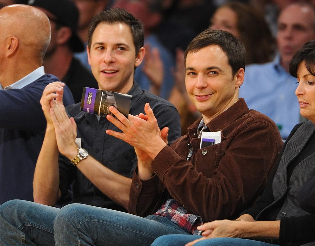 LOS ANGELES, CA - NOVEMBER 04:  Todd Spiewak (L) and Jim Parsons attend a basketball game between the Detroit Pistons and the Los Angeles Lakers at Staples Center on November 4, 2012 in Los Angeles, California.  (Photo by Noel Vasquez/Getty Images)