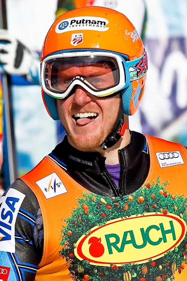 KRANJSKA GORA, SLOVENIA - MARCH 10: (FRANCE OUT) Ted Ligety of the USA takes 1st place during the Audi FIS Alpine Ski World Cup Men's Giant Slalom on March 10, 2012 in Kranjska Gora, Slovenia. (Photo by Stanko Gruden/Agence Zoom/Getty Images)