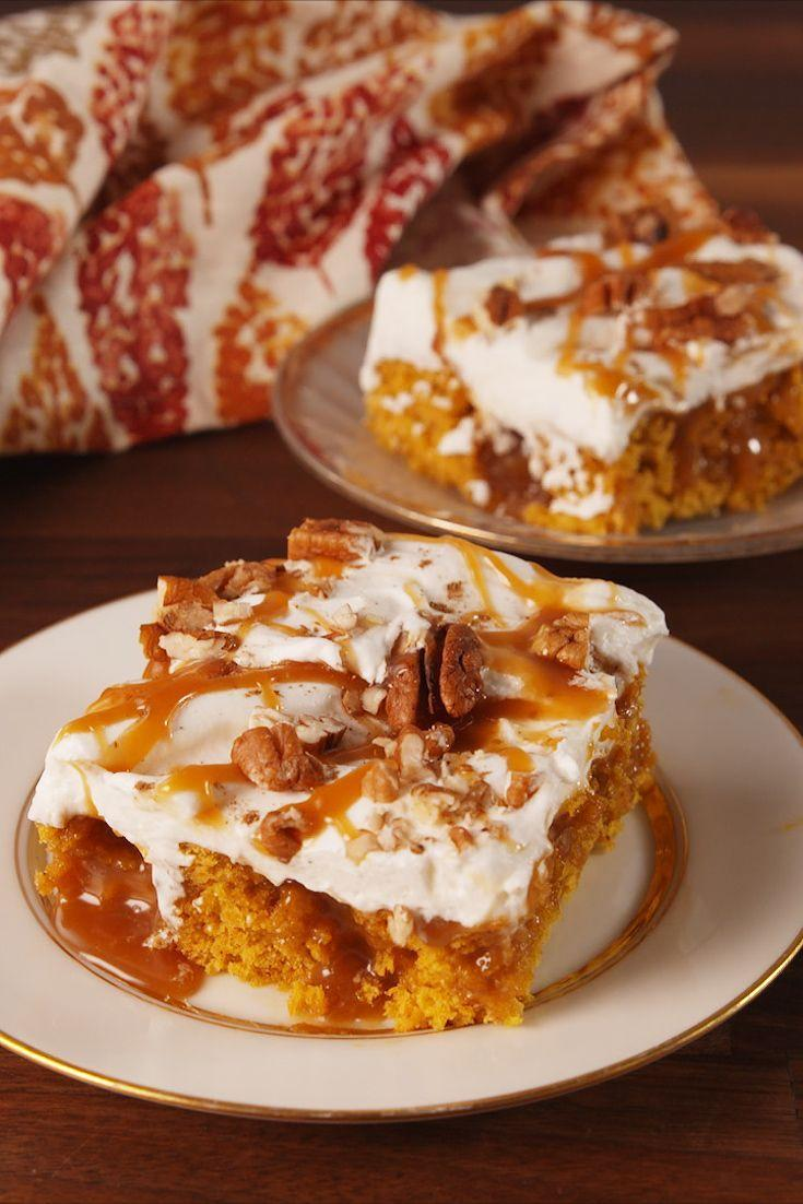 """<p>This one's for all you proud basics out there.</p><p>Get the recipe from <a href=""""https://www.delish.com/cooking/recipes/a54931/pumpkin-spice-poke-cake-recipe/"""" rel=""""nofollow noopener"""" target=""""_blank"""" data-ylk=""""slk:Delish"""" class=""""link rapid-noclick-resp"""">Delish</a>.</p>"""