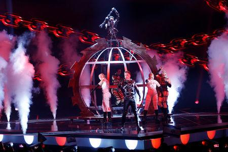 Participant Hatari of Iceland performs during the Grand Final of the 2019 Eurovision Song Contest in Tel Aviv, Israel May 18, 2019. REUTERS/Ronen Zvulun