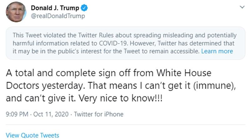 Twitter Flags Donald Trump's 'Can't Get Coronavirus' Tweet For Violating Rules About Spread of Misleading Information on COVID-19