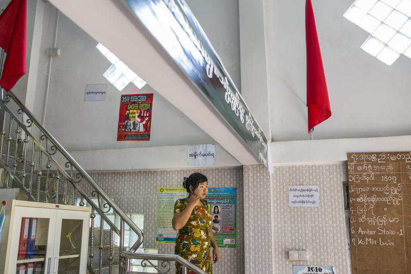 Ohnmar Myint, a union member since its founding, at the offices of the Federation of Garment Workers Myanmar in Yangon, Myanmar, April 26, 2020. (Minzayar Oo/The New York Times)