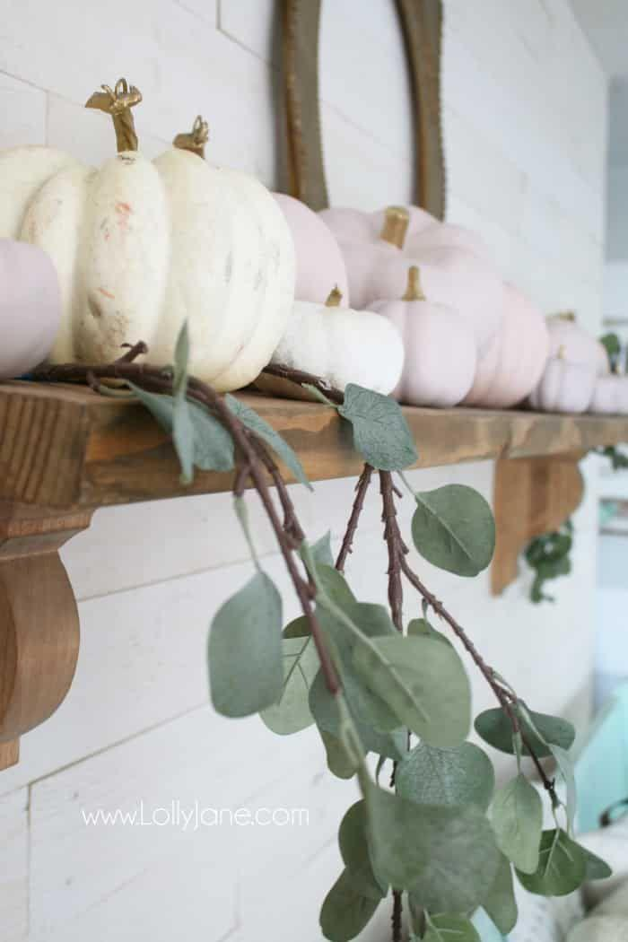 """<p>Pink for fall? We say yes! Use chalky pink spray paint to make your autumn pumpkins look pretty and feminine on your mantel.</p><p><strong>Get the tutorial at <a href=""""https://lollyjane.com/diy-pink-pumpkins-fall-mantel-decor/"""" rel=""""nofollow noopener"""" target=""""_blank"""" data-ylk=""""slk:Lolly Jane"""" class=""""link rapid-noclick-resp"""">Lolly Jane</a>.</strong></p><p><a class=""""link rapid-noclick-resp"""" href=""""https://go.redirectingat.com?id=74968X1596630&url=https%3A%2F%2Fwww.walmart.com%2Fip%2FRust-Oleum-302599-Chalked-Sealer-Wax-Topcoat-Spray-Paint-11-oz-Clear%2F535256750&sref=https%3A%2F%2Fwww.thepioneerwoman.com%2Fhome-lifestyle%2Fcrafts-diy%2Fg36891743%2Ffall-mantel-decorations%2F"""" rel=""""nofollow noopener"""" target=""""_blank"""" data-ylk=""""slk:SHOP PINK SPRAY PAINT"""">SHOP PINK SPRAY PAINT</a></p>"""