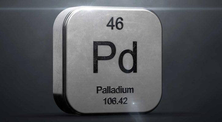 The periodic table shows element 46, Palladium.