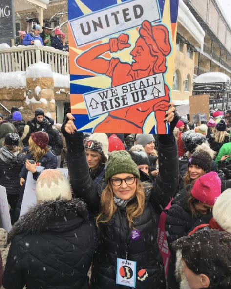Connie Britton attending the Women's March in Park City Utah.