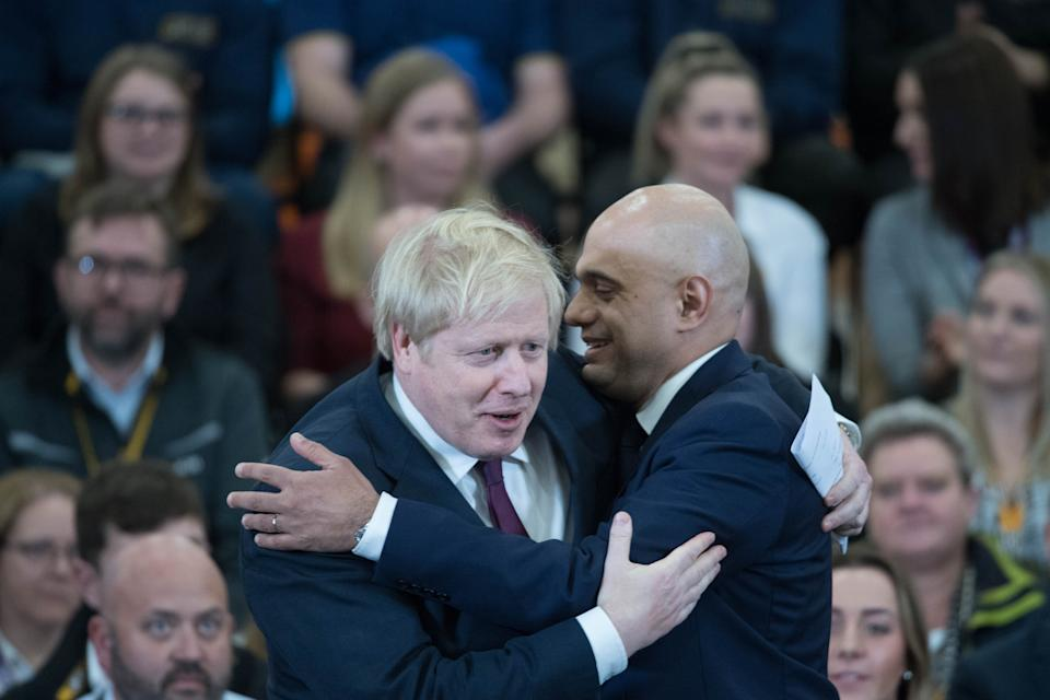 Prime Minister Boris Johnson and Chancellor Sajid Javid, during a visit to JCB cab manufacturing centre in Uttoxeter, while on the General Election campaign trail.