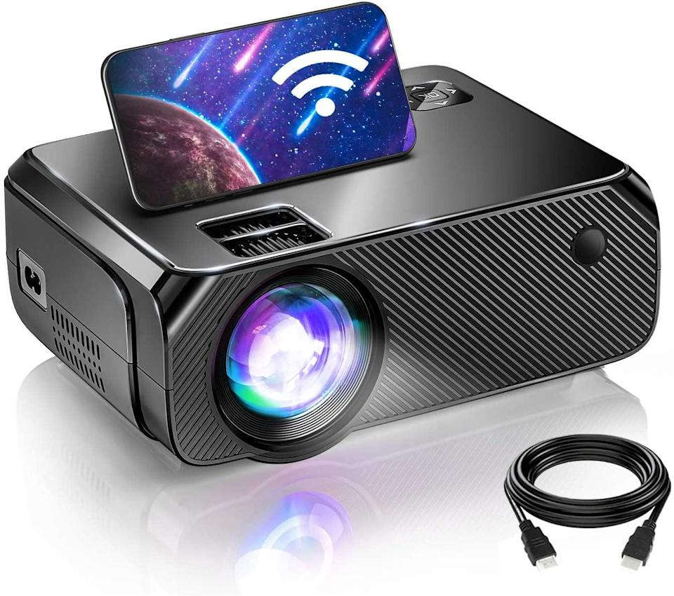 <p>Equipped with built-in HiFi stereo speakers, the <span>Bomaker WiFi Mini Projector</span> ($128) has powerful sound and vivid and bright images. It works well with both your TV Stick and smartphone and more including laptops, Blu-ray DVD players, video-game consoles, and USB drives. </p>