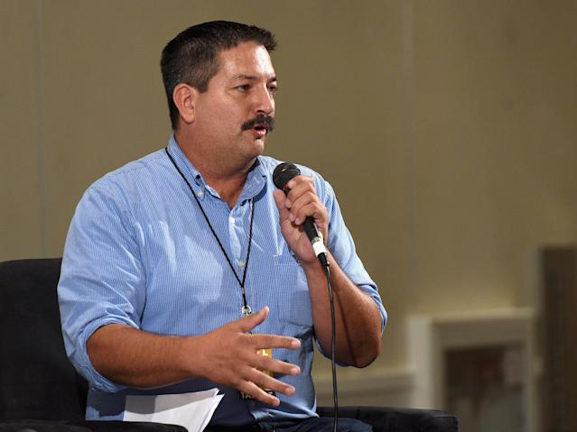Randy Bryce speaking at a panel discussion at the Pasadena (Calif.) Convention Center on July 30, 2017. (Photo: Joshua Blanchard/Getty Images for Politicon)