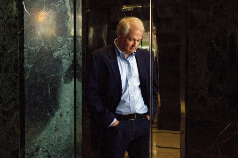 FILE - In this Aug. 23, 2012, file photo, Donald Fehr, executive director of the National Hockey League Players' Association, is reflected in the doors of an elevator as he prepares to speak with the media following labor talks with the NHL in Toronto. The NHLPA announces its decision whether to terminate the current collective bargaining agreement and set the clock ticking toward another potential work stoppage in 2020. (AP Photo/The Canadian Press, Chris Young, File)