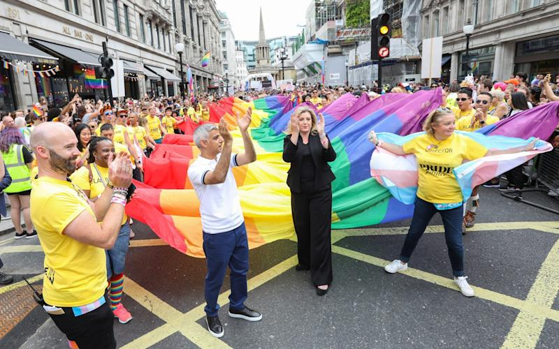 Defence Secretary Penny Mordaunt during the  Pride in London 2019 parade. July 06, 2019. - Getty Images Europe